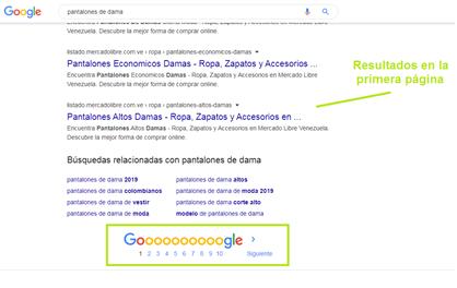 imagen de ejemplo de posicionamiento en google
